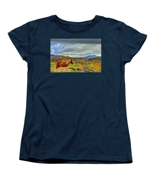 Women's T-Shirt (Standard Cut) featuring the photograph Horse And Mountains by Scott Mahon