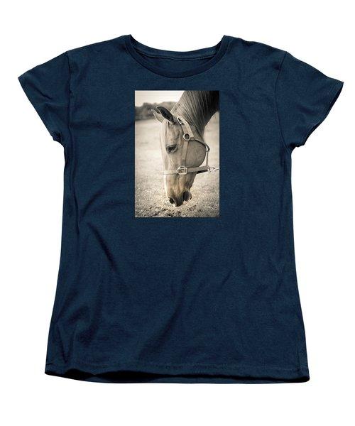 Horse Eating In A Pasture Women's T-Shirt (Standard Cut) by Kelly Hazel