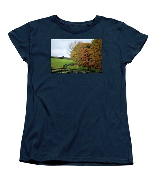 Women's T-Shirt (Standard Cut) featuring the photograph Horse Farm Country In The Fall by Sumoflam Photography