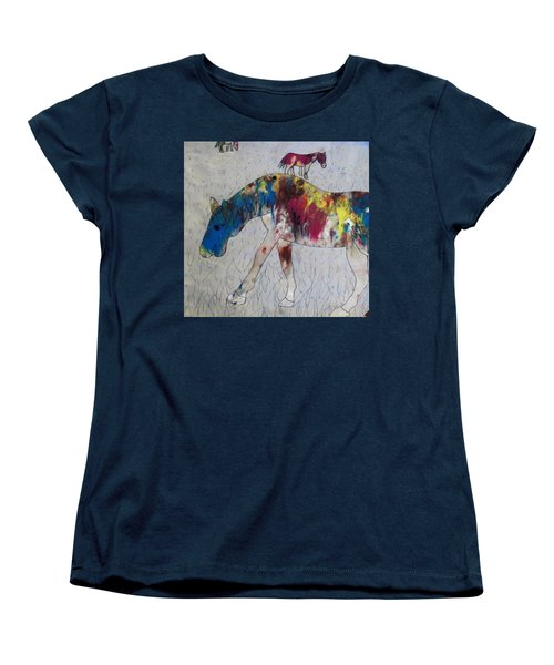 Horse Of A Different Color Women's T-Shirt (Standard Cut) by Thomasina Durkay