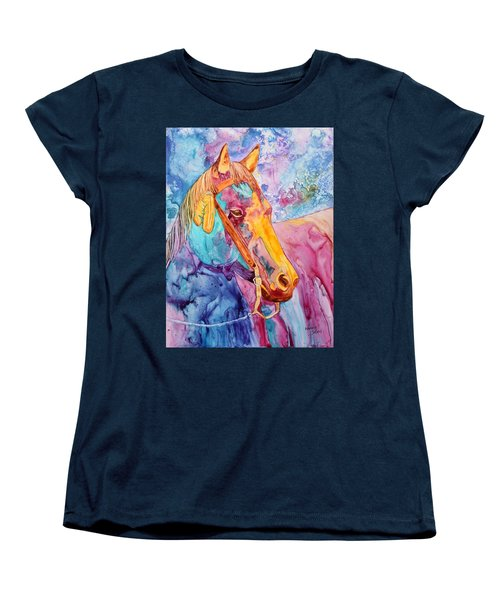 Horse Of Many Colors Women's T-Shirt (Standard Cut) by Nancy Jolley