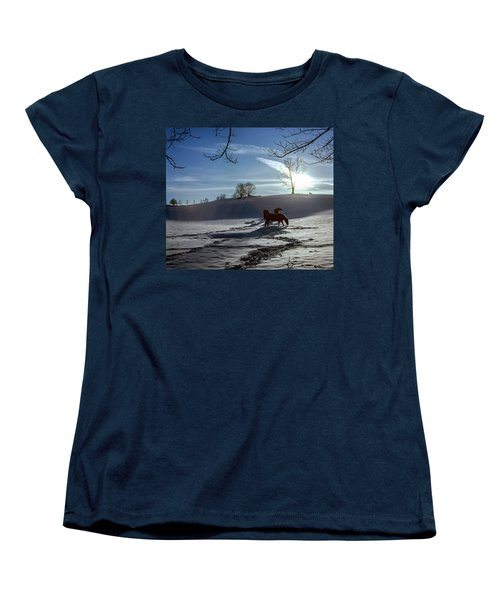 Horses In The Snow Women's T-Shirt (Standard Cut) by Greg Reed