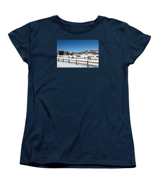 Horses On A Small Farm Near The Aspen Airport Women's T-Shirt (Standard Cut) by Carol M Highsmith