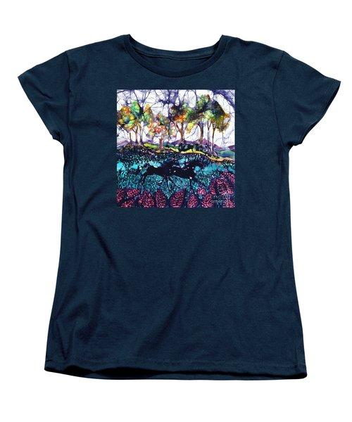 Horses Running Below Hills Women's T-Shirt (Standard Cut)