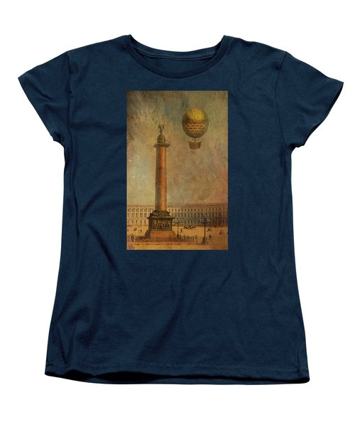 Women's T-Shirt (Standard Cut) featuring the digital art Hot Air Balloon Over St Petersburg And The Hermitage by Jeff Burgess
