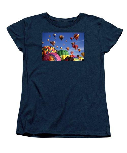 Beautiful Balloons On Blue Sky Women's T-Shirt (Standard Cut) by Art America Gallery Peter Potter