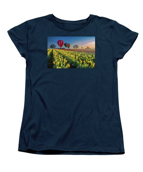 Hot Air Balloons Over Tulip Fields Women's T-Shirt (Standard Cut) by William Lee