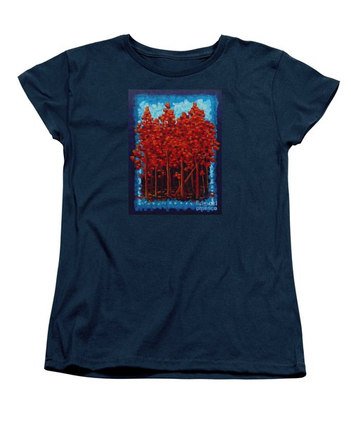 Women's T-Shirt (Standard Cut) featuring the painting Hot Reds by Holly Carmichael