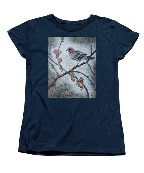 Women's T-Shirt (Standard Cut) featuring the mixed media House Finch by Sheri Howe