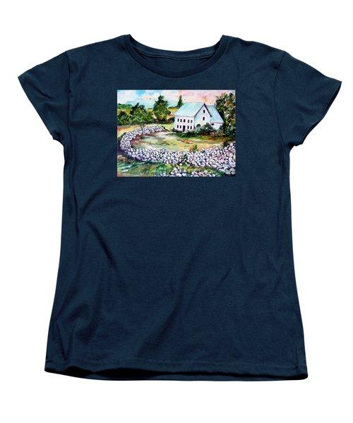 Women's T-Shirt (Standard Cut) featuring the painting House In Bosnia H Kalinovik by Roberto Gagliardi