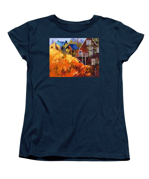 Women's T-Shirt (Standard Cut) featuring the painting Houses On The Hill by Rae Andrews