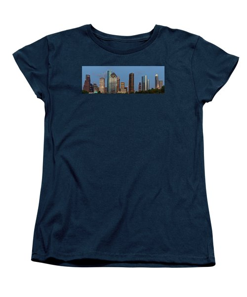 Houston Skyline Panorama Women's T-Shirt (Standard Cut) by Jonathan Davison