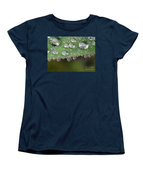 How Many Raindrops Can A Leaf Holds. Women's T-Shirt (Standard Cut) by Kim Tran
