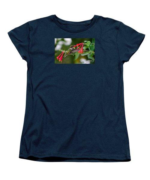 Women's T-Shirt (Standard Cut) featuring the photograph Hummingbird Feeding by Gary Wightman
