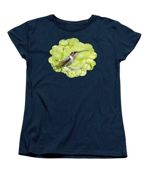 Hummingbird Hiding In Flowers Women's T-Shirt (Standard Cut) by Christina Rollo