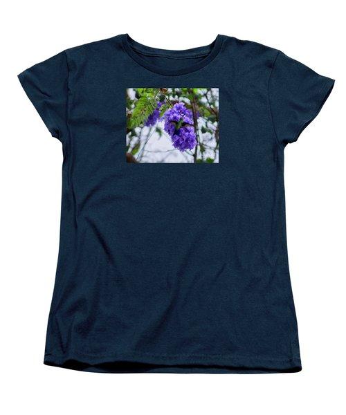 Hummingbird In A Jacaranda Tree Women's T-Shirt (Standard Cut) by John  Kolenberg