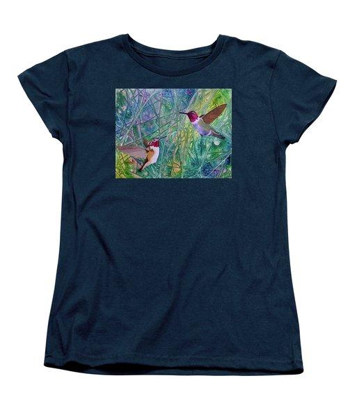 Hummingbird Pair Women's T-Shirt (Standard Cut) by Nancy Jolley