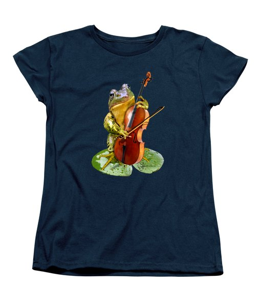 Humorous Scene Frog Playing Cello In Lily Pond Women's T-Shirt (Standard Cut) by Regina Femrite