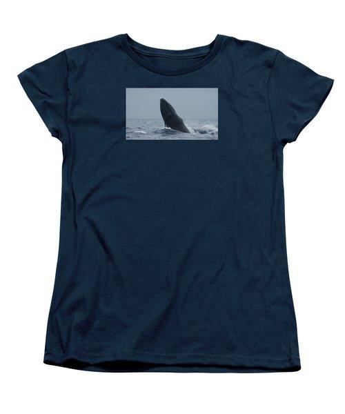 Humpback Whale Breaching Women's T-Shirt (Standard Cut) by Gary Crockett