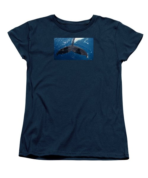 Women's T-Shirt (Standard Cut) featuring the photograph Humpback Whale Tail With Human Shadows by Gary Crockett