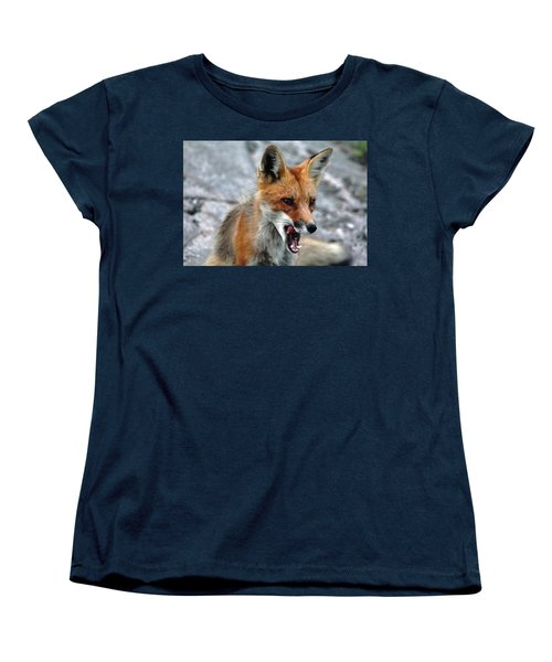 Women's T-Shirt (Standard Cut) featuring the photograph Hungry Red Fox Portrait by Debbie Oppermann