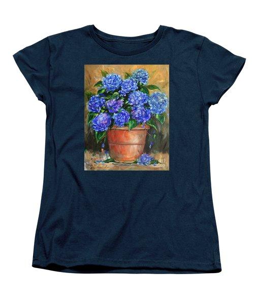 Women's T-Shirt (Standard Cut) featuring the painting Hydrangeas In Pot by Jennifer Beaudet