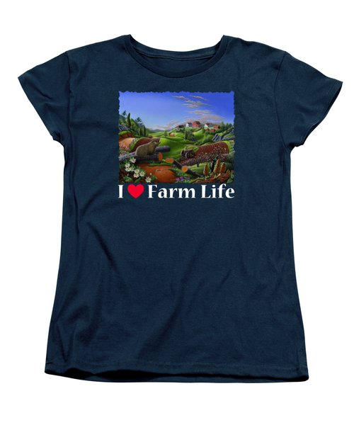 I Love Farm Life T Shirt - Spring Groundhog - Country Farm Landscape 2 Women's T-Shirt (Standard Cut) by Walt Curlee