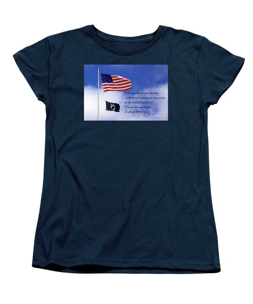 Women's T-Shirt (Standard Cut) featuring the photograph I Will Not Forget You American Flag Pow Mia Flag Art by Reid Callaway