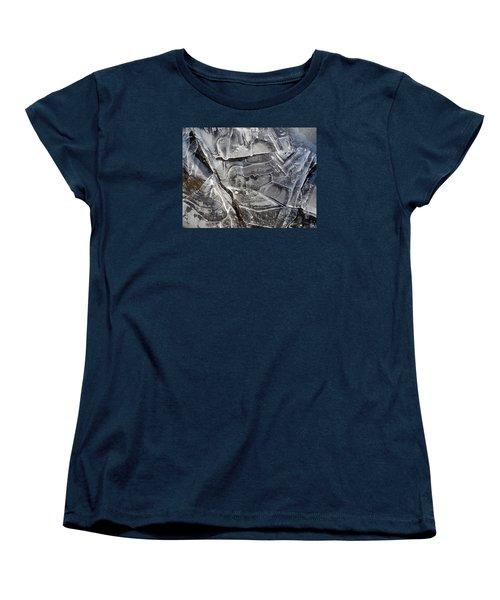 Women's T-Shirt (Standard Cut) featuring the photograph Ice Abstract by Lynda Lehmann