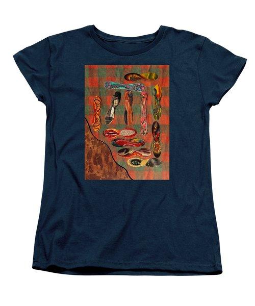 Women's T-Shirt (Standard Cut) featuring the painting Ice Cream Wooden Sticks by Viktor Savchenko
