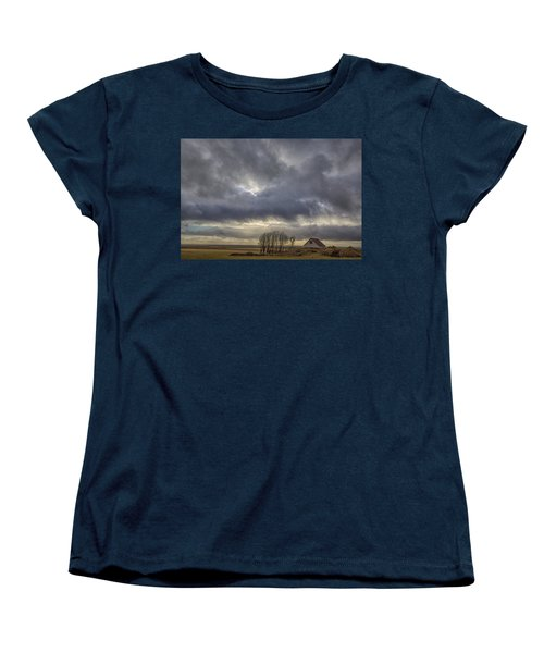 Women's T-Shirt (Standard Cut) featuring the tapestry - textile Iceland Buildings by Kathy Adams Clark