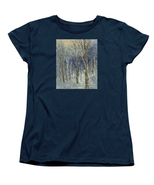 Women's T-Shirt (Standard Cut) featuring the painting Icy Bells by Tatiana Iliina
