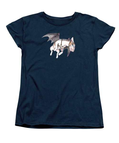 Women's T-Shirt (Standard Cut) featuring the painting If Pigs Could Fly by Jindra Noewi
