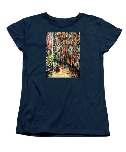 Women's T-Shirt (Standard Cut) featuring the painting Il Giro Finale Del Gondoliere by Alfred Motzer