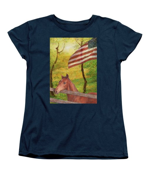 Illustrated Horse In Golden Meadow Women's T-Shirt (Standard Cut) by Judith Cheng