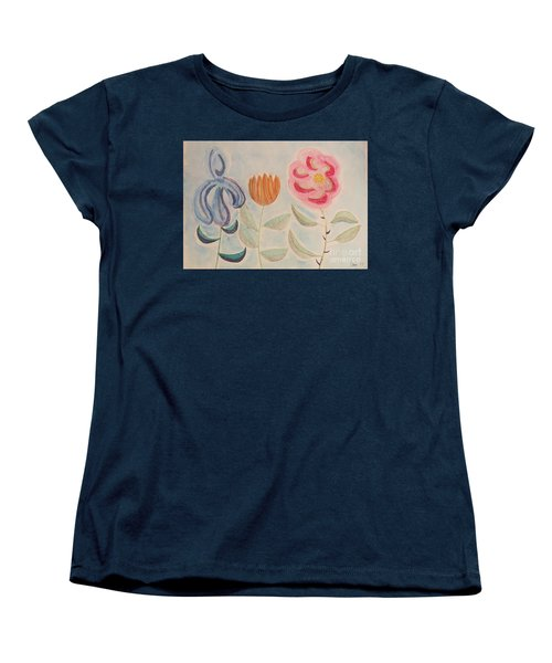 Women's T-Shirt (Standard Cut) featuring the painting Imagined Flowers Two by Rod Ismay