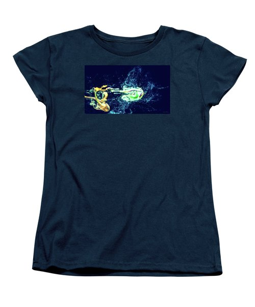 Impact - Pouring Photography Abstract Women's T-Shirt (Standard Cut) by Modern Art Prints
