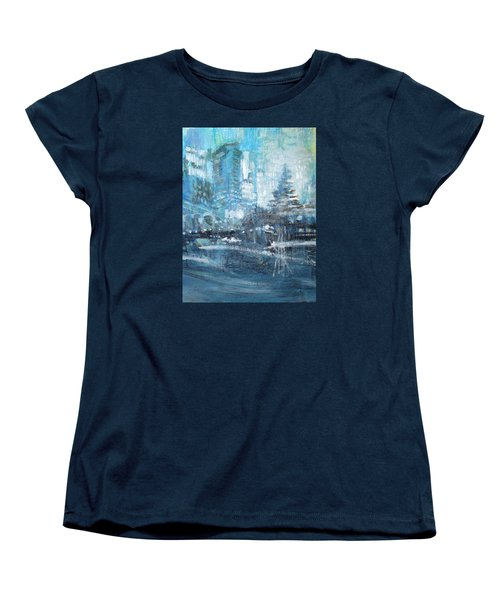 Women's T-Shirt (Standard Cut) featuring the painting In A Winter Urban Park by John Fish