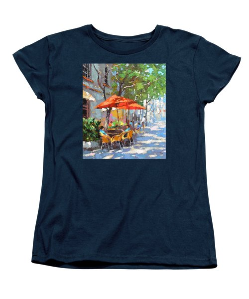 Women's T-Shirt (Standard Cut) featuring the painting In The Shadow Of Cafe by Dmitry Spiros