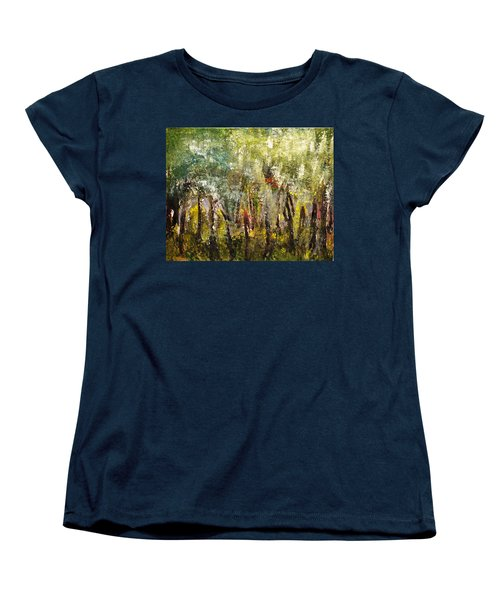 Women's T-Shirt (Standard Cut) featuring the painting In The Woods by Evelina Popilian