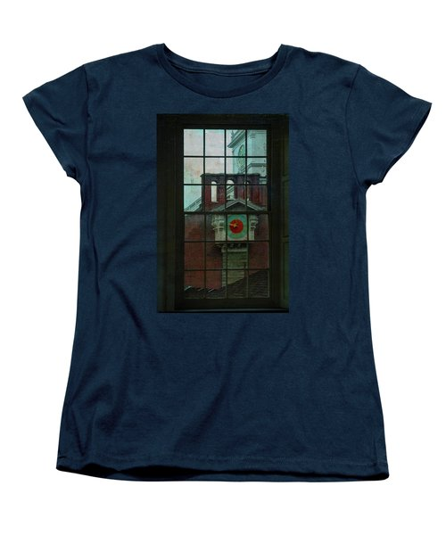 Women's T-Shirt (Standard Cut) featuring the photograph Independence Hall Through Congressional Window by Jeff Burgess
