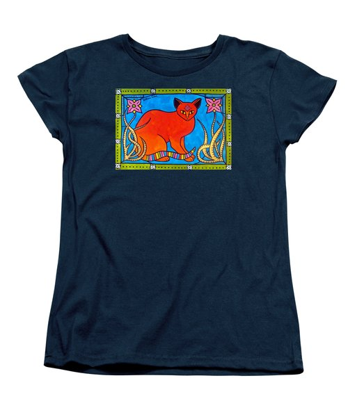 Indian Cat With Lilies Women's T-Shirt (Standard Cut) by Dora Hathazi Mendes