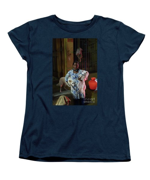 Women's T-Shirt (Standard Cut) featuring the photograph Indian Woman And Her Dogs by Mike Reid