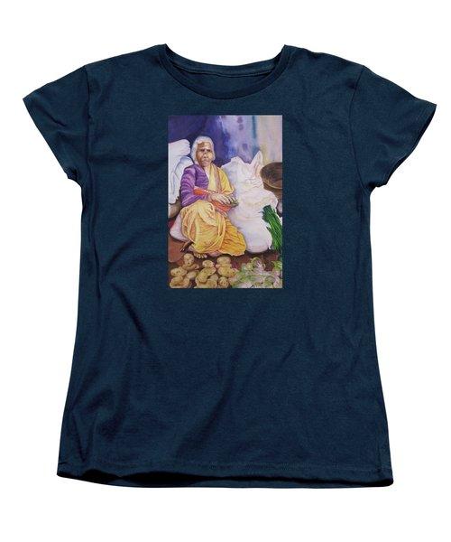 Indian Woman At Market IIi Women's T-Shirt (Standard Cut) by Teresa Beyer