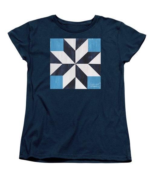 Women's T-Shirt (Standard Cut) featuring the painting Indigo And Blue Quilt by Debbie DeWitt