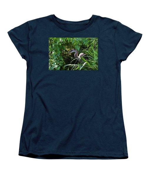 Injure Blue Heron Women's T-Shirt (Standard Cut) by Donna Brown