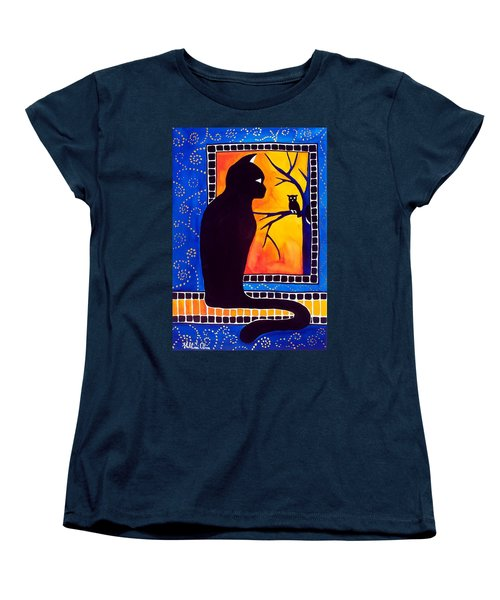Insomnia - Cat And Owl Art By Dora Hathazi Mendes Women's T-Shirt (Standard Cut) by Dora Hathazi Mendes