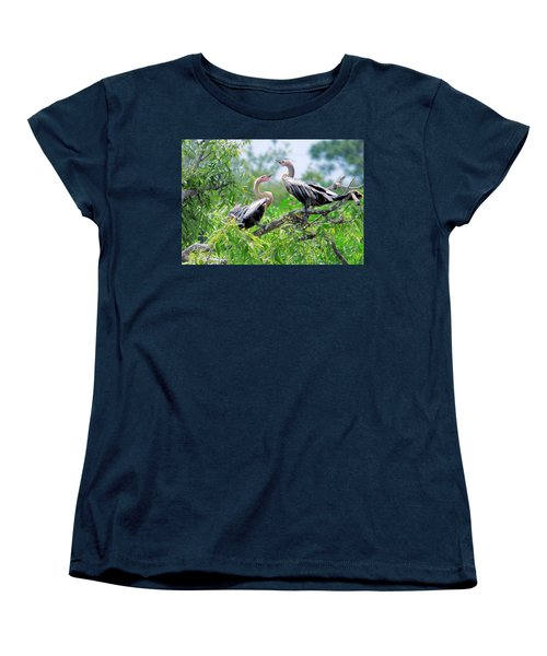 Women's T-Shirt (Standard Cut) featuring the photograph Interacting Young Anhingas by Rosalie Scanlon