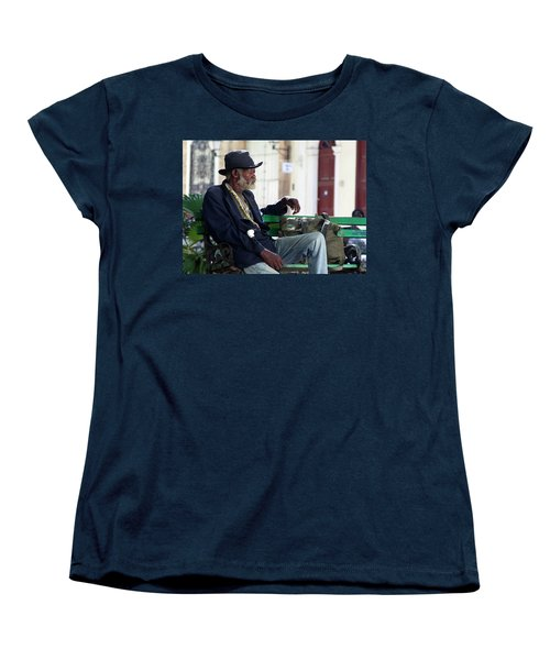 Women's T-Shirt (Standard Cut) featuring the photograph Interesting Cuban Gentleman In A Park On Obrapia by Charles Harden