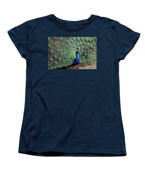 Women's T-Shirt (Standard Cut) featuring the photograph Iridescent Blue-green Peacock by LeeAnn McLaneGoetz McLaneGoetzStudioLLCcom